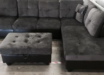 Dark Gray Microfiber Sectional Couch And Ottoman for Sale in Newcastle,  WA