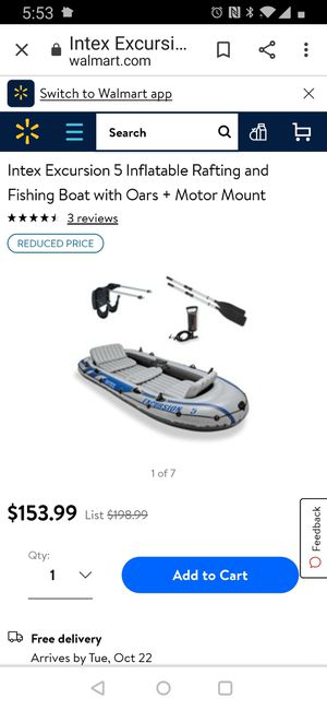 Inflatable boat and trolling motor ..Intex excursion 5 with trolling motor Minn kota c2 ,motor holder, air pump, oars, seats for Sale in Issaquah, WA