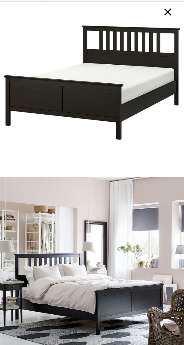 Ikea Queen Bed frame with storage boxes CORLOR BLACK + mattress