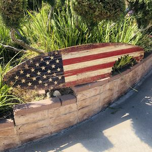 American Flag United States distress look Wood Surfboard Beer Bar Man cave mirror for Sale in Montebello, CA