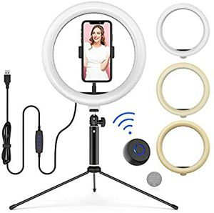 10 LED Ring Light with Tripod Stand Adjustable & Phone Holder, Bluetooth Remo Stream/YouTotography, Compatible with iPhone/Android - WONEW ZJ02 for Sale in Tampa, FL