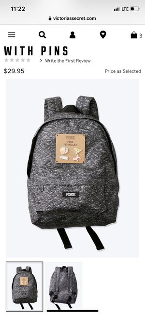 Victoria secret Pink backpack gray +pin. $25. New with tag for Sale in Anaheim, CA