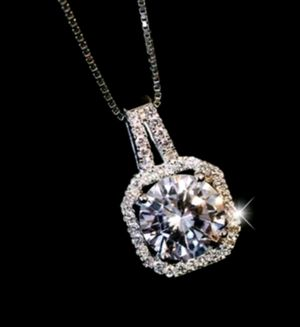$10 new silver plated adjustable CZ necklace for Sale in Valley Park, MO