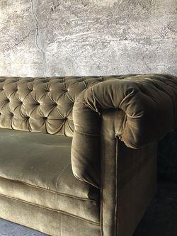 Antique Chesterfield Sofa In Olive Velvet for Sale in Portland,  OR