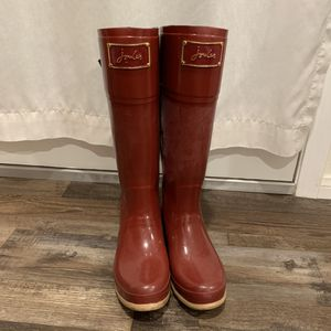 Joules Ruby Red Evedon Tall Bow Rain Boots 9 for Sale in Ontario, CA
