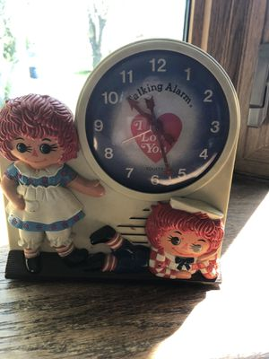 "Raggedy Ann Andy Wind-Up Talking Alarm Clock ""Its Time To Call Our Friends"" for Sale in Brookfield, WI"