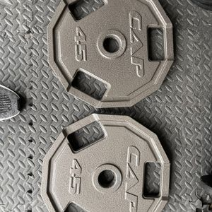 2 45lb Lbs Cap Plates for Sale in Little Elm, TX