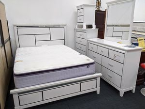 No credit needed 5pc white color queen bedroom set for Sale in College Park, MD