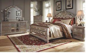 Birlanny - Silver - 8 Pc. - Dresser, Mirror, Chest, Queen UPH Bed & 2 Nightstands for Sale in Naples, FL