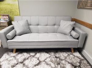 New in box Stunning Light Gray Mid-Century Modern Sofa Bed Couch Futon for Sale in Vancouver, WA
