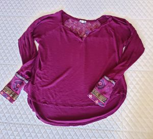 Long-sleeved Embroidered Plum Colored Blouse for Sale in East Wenatchee, WA