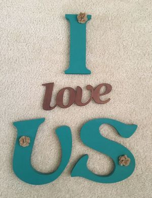 "LARGE "" I Love Us"" Sign Turquoise 8"" Tall Wooden Letters & 9"" Wide Metal Love Set❗️IF POSTED THEN AVAILABLE❗️Wedding Valentine's for Sale in Plainfield, IL"