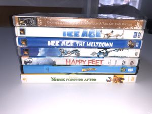 Kids Dvd Movies Family Ice Age Shrek Happy Feet Robots Garfield Madagascar Movie Lot for Sale in KENT, WA