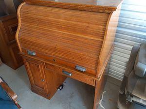 Antique oak wooden rolltop desk for Sale in Fresno, CA
