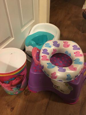 Potty, kids potty seat, Trolls trash can for Sale in Atlanta, GA
