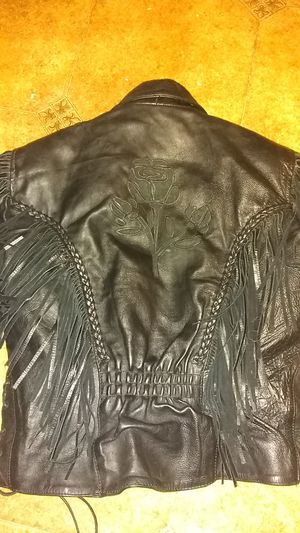M&M Leather woman's medium fringed leather jacket for Sale in Greensburg, PA