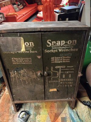 Vintag UNIQUE Snap On Tools Wall Hanging 1930s cabinet for Sale in Farmington Hills, MI