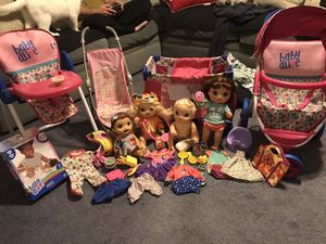 Baby Alive Lot- dolls, accessories, stroller, highchair and playpen for Sale in Tennerton, WV