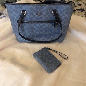 Denim Colored coach Bag and Small Wristlet for Sale in Carefree, AZ