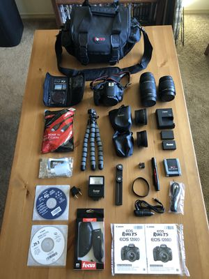 LIKE NEW Canon Rebel T5 DSLR Camera Full Bundle with 4 Lenses and Full Photography Kit w/ Carry Case for Sale in Auburn, WA