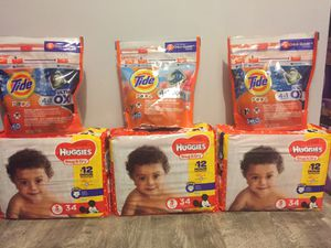 3packs huggies size 3 3packs tide pods bundle for $32/ firm price pick up Gahanna for Sale in Columbus, OH