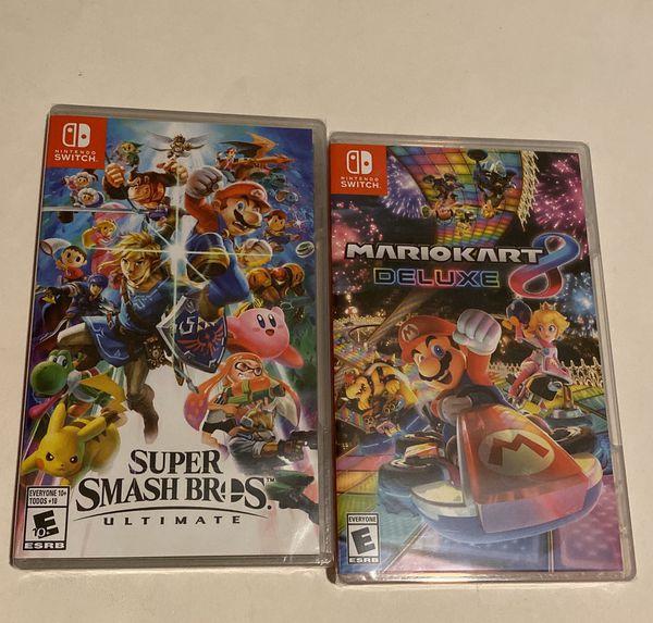 New Super Smash Bros Ultimate & Mario Kart 8 Deluxe Nintendo Switch Lite