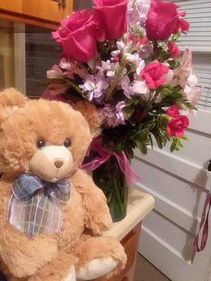 Flower and Teddy bear for Sale in Friend, OR