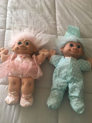 Trolls Dolls Twins Soft body 15in for Sale in East Providence, RI