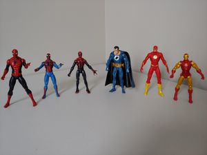 Spider-Man, Iron-Man, and DC action figure Bundle of 6 for Sale in Alexandria, VA