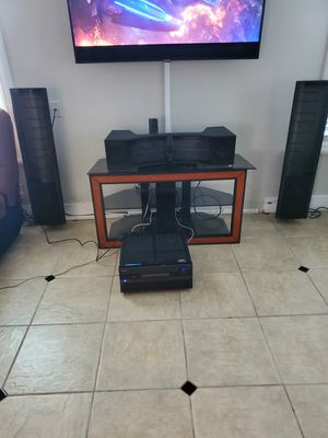 2 tower speakers and Center Martin Logan. subwoofer mtx12 receiver Onkyo everything works sounds perfect. 10/10 asking $750 for Sale in Manteca, CA