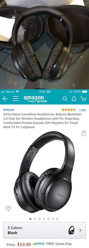 New Bluetooth 5.0 wireless headphones 30 hours playtime Active Noise Cancelling for Sale in Riverside, CA