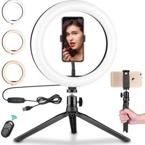 "10.2"" LED Ring Light with Stand & 2 Cell Phone Holder with Remote Control, Desktop Selfie Mini Ring Light for Live Stream/Makeup/YouTube Video/Photogr for Sale in La Verne, CA"