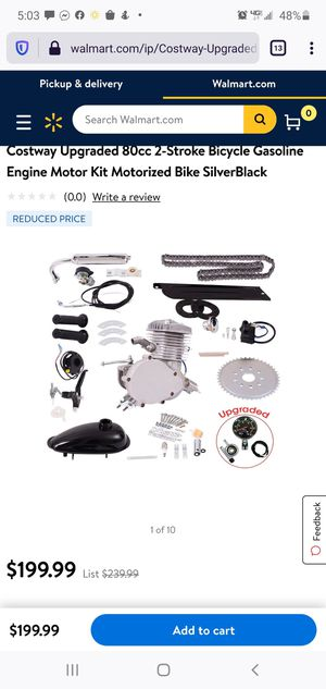 Upgraded 80cc 2-Stroke Bicycle Gasoline Engine Motor Kit Motorized Bike SilverBlack for Sale in West Covina, CA