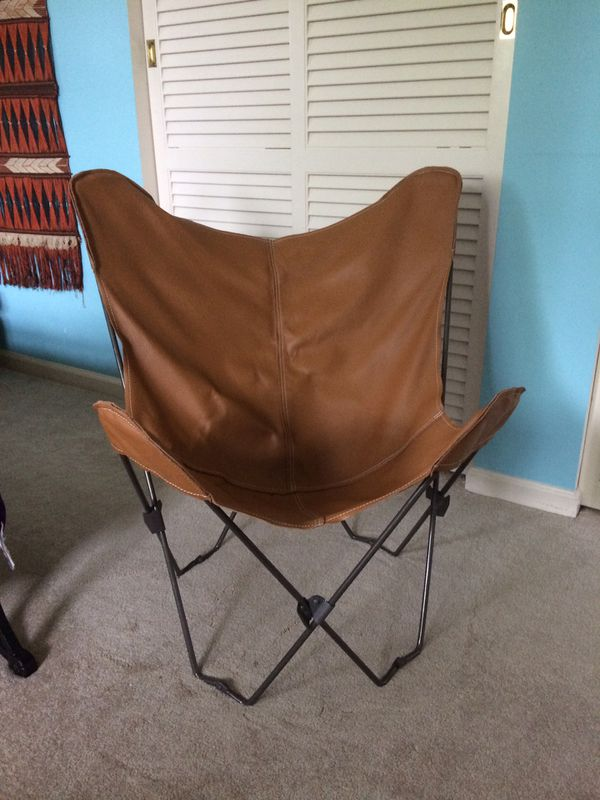 Mid century inspired leather butterfly chair