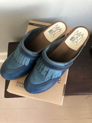 Blue suede-and-leather Maguba wedge clogs size 40 (9) for Sale in Portland, OR