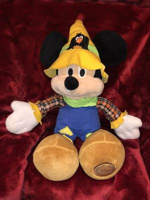 "Disney Store large 20"" Mickey Mouse Scarecrow Halloween fall harvest Thanksgiving home decor plush doll plushie stuffed animal toy sale for Sale in Phoenix, AZ"