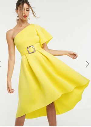 ASOS DESIGN one shoulder belted prom dress - Yellow / US 14 (NEW) for Sale in Brooklyn, NY