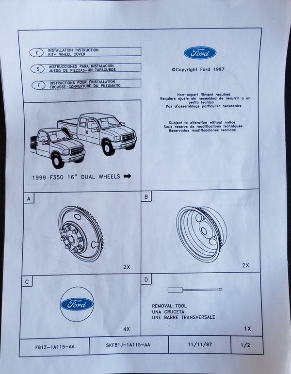 Ford F-350 Dually hub cap OEM kit