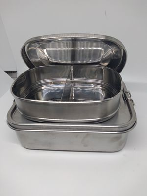 Stainless steel storage food containers lunch 2 containers with lids for Sale in Bloomington, CA