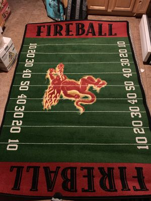 Fireball football field area rug for man cave for Sale in Albany, CA