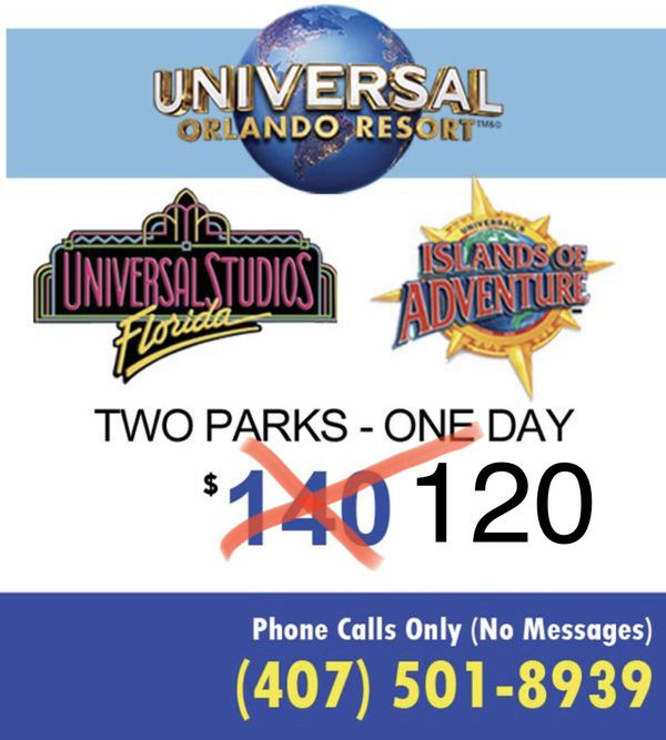 Universal studios tickets BOTH PARKS same day