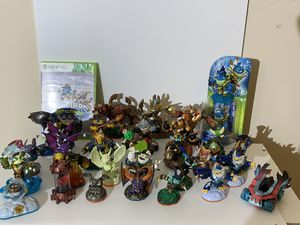 Sky landers - lot- Over 30 pieces- 3 portals ( Xbox 360,ps3)-Includes Xbox 360 game( These can work on most systems) for Sale in Morrisville, NC