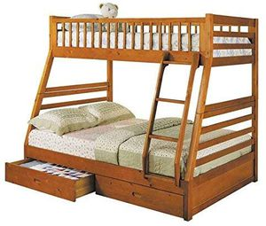 Twin/Full Bunk Bed with Drawers, Honey Oak Finish for Sale in Land O' Lakes, FL