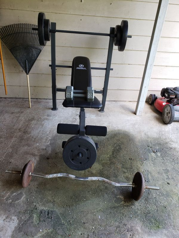 Mercury weight set, with curl bar, and dumbells