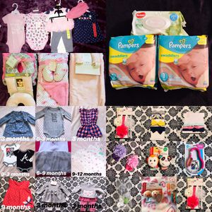 14 new outfits 4 blankets 2 packs of pampers with huggies wipes, bows, toys, and pacifiers for Sale in Ceres, CA