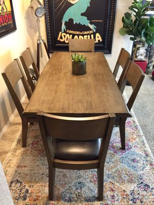 Live edge Stone gray table set with 6 matching chairs for Sale in San Diego, CA