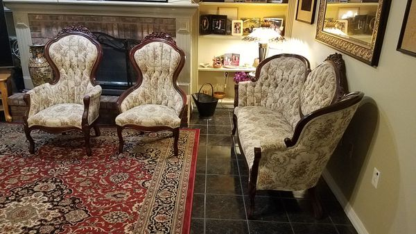 French style sofa and his & hers chairs
