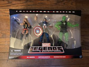 Marvel legends captain America, captain marvel/ ms marvel, radioactive man. for Sale in Nahant, MA