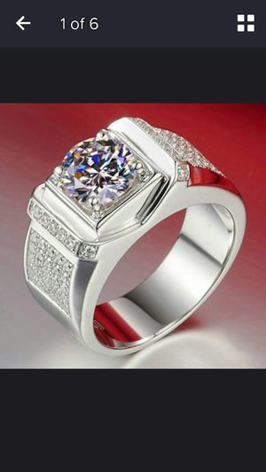 Luxurious man's white sapphire gemstone diamond ring princess wedding band size 12 for Sale in Moreno Valley, CA