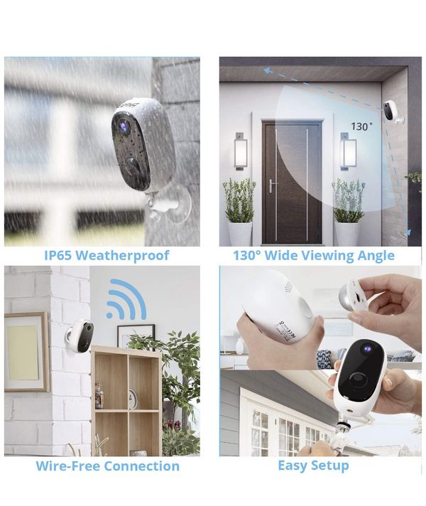 AKASO Wireless Security Camera Outdoor/Indoor 1080P, 10000mAh Rechargeable Battery-Powered WiFi Camera for Home Security, Night Vision, 2-Way Audio,